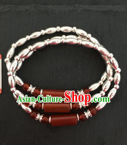 Chinese Traditional Mongol Nationality Agate Bracelet Mongolian Ethnic Sliver Bangle Accessories for Women