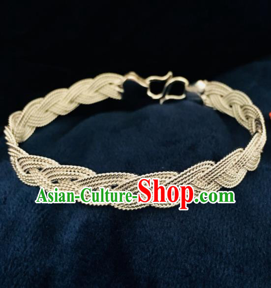 Chinese Traditional Mongol Nationality Sliver Bangle Mongolian Ethnic Bracelet Accessories for Women