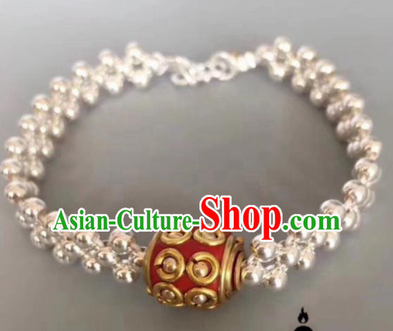 Chinese Traditional Mongol Nationality Bangle Mongolian Ethnic Sliver Bracelet Accessories for Women