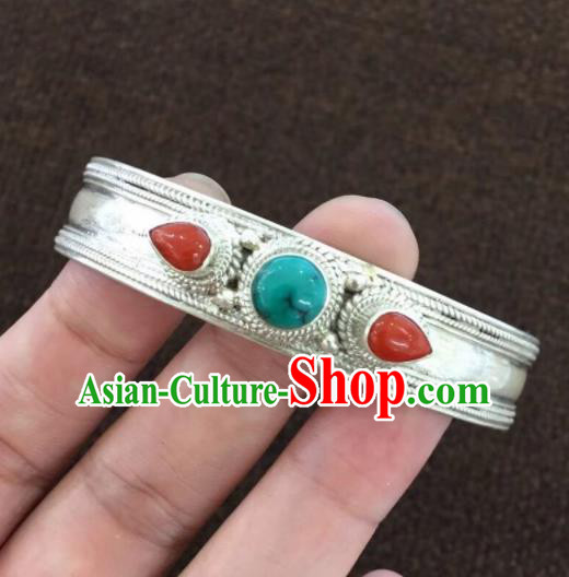 Chinese Traditional Mongol Nationality Kallaite Bracelet Mongolian Ethnic Sliver Bangle Accessories for Women