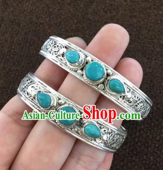 Chinese Traditional Mongol Nationality Blue Stone Bracelet Mongolian Ethnic Sliver Bangle Accessories for Women