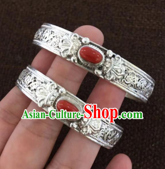 Chinese Traditional Mongol Nationality Red Stone Bracelet Mongolian Ethnic Sliver Bangle Accessories for Women