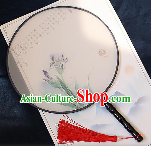 Chinese Traditional Printing Phalaenopsis Silk Round Fans Handmade Classical Palace Fans for Women