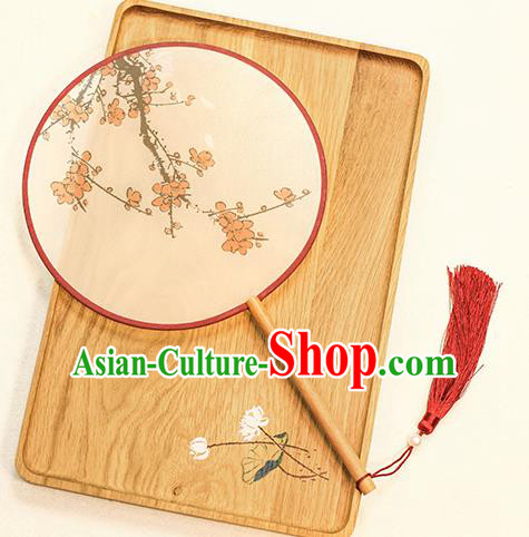 Chinese Traditional Printing Plum Blossom Dance Silk Round Fans Handmade Classical Palace Fans for Women