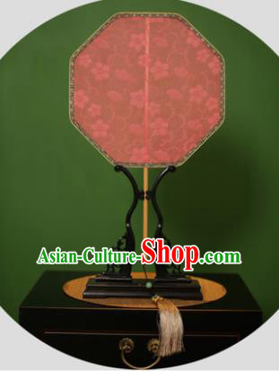 Chinese Traditional Handmade Kesi Red Silk Fans Classical Palace Fans for Women
