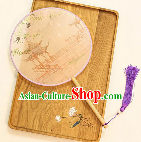 Chinese Traditional Printing Pavilion Dance Silk Round Fans Handmade Classical Palace Fans for Women