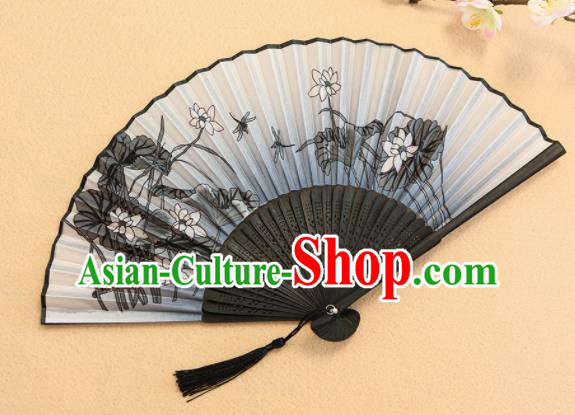Chinese Traditional Folding Fans Classical Printing Lotus Accordion Silk Fans for Women