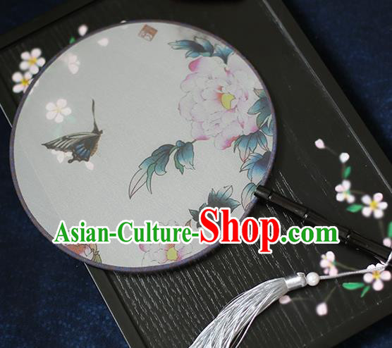Chinese Traditional Printing Peony Butterfly Silk Round Fans Classical Hanfu Palace Fans for Women