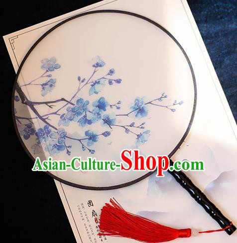 Chinese Traditional Printing Blue Plum Blossom Silk Round Fans Handmade Classical Palace Fans for Women