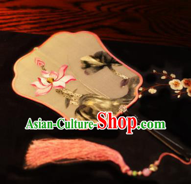 Handmade Chinese Traditional Embroidered Lotus Silk Fans Classical Palace Fans for Women