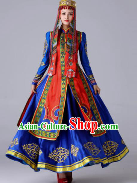 Chinese Traditional Ethnic Princess Costume Mongolian Nationality Folk Dance Blue Dress for Women
