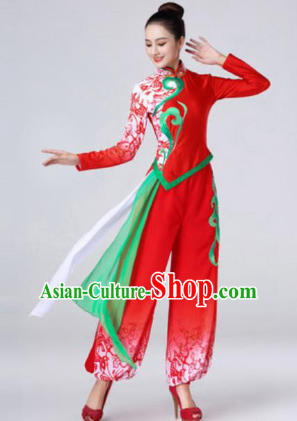 Chinese Traditional Yanko Dance Costume Folk Dance Stage Performance Red Dress for Women