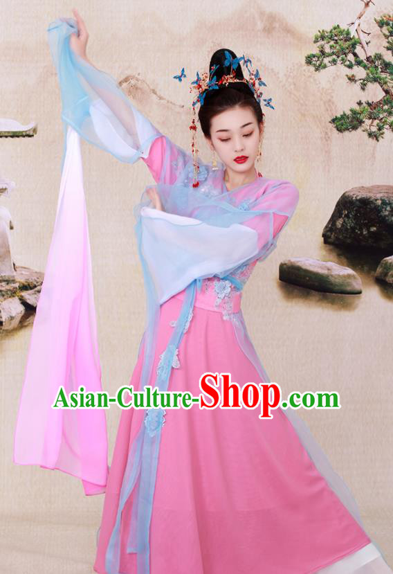 Chinese Ancient Legend Goddess in the Moon Hanfu Dress Tang Dynasty Imperial Consort Historical Costume for Women