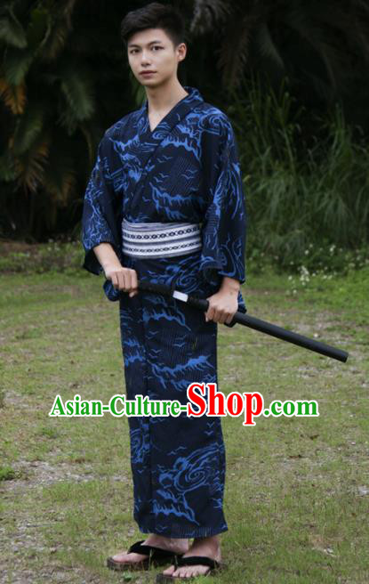 Japanese Traditional Handmade Navy Kimono Robe Asian Japan Warrior Yukata Costume for Men