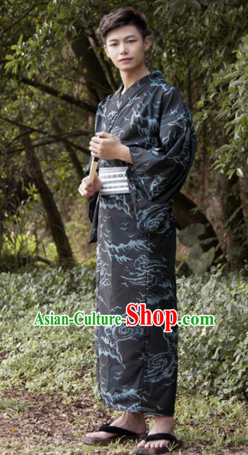 Japanese Traditional Samurai Black Kimono Robe Asian Japan Handmade Warrior Yukata Costume for Men