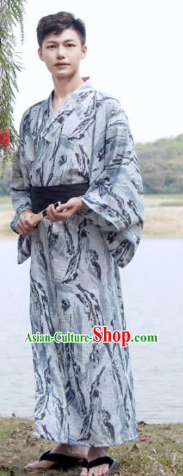 Japanese Traditional Samurai Grey Kimono Robe Asian Japan Handmade Warrior Yukata Costume for Men