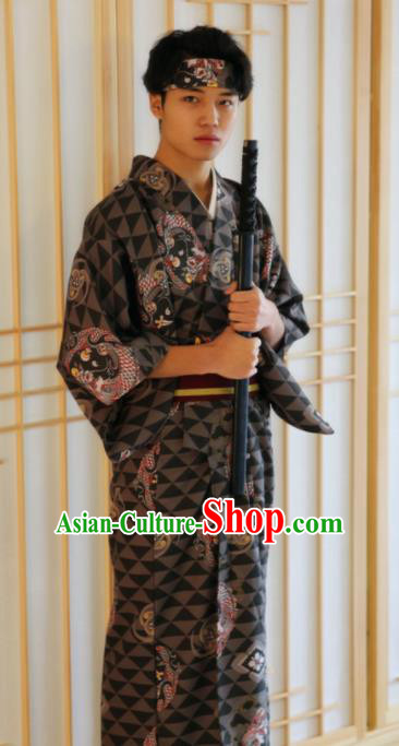Japanese Traditional Samurai Printing Dragons Black Kimono Robe Asian Japan Handmade Warrior Yukata Costume for Men