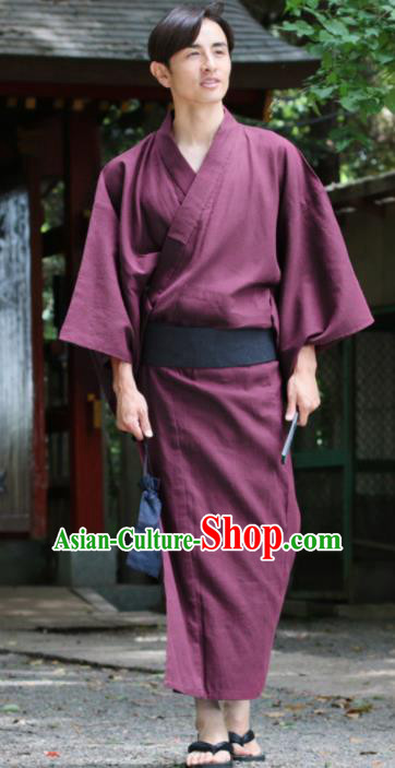 Japanese Traditional Samurai Wine Red Kimono Robe Asian Japan Handmade Warrior Yukata Costume for Men