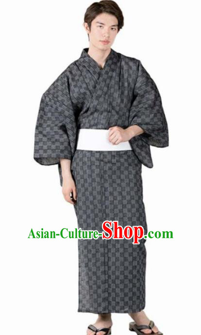 Japanese Traditional Samurai Grey Linen Kimono Asian Japan Handmade Warrior Yukata Costume for Men