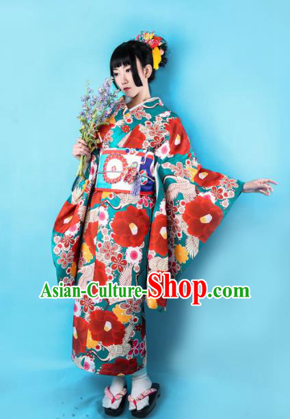 Japanese Traditional Handmade Printing Peony Furisode Kimono Dress Asian Japan Geisha Red Yukata Costume for Women