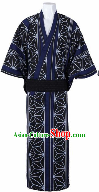 Japanese Traditional Samurai Printing Navy Kimono Asian Japan Handmade Warrior Yukata Costume for Men