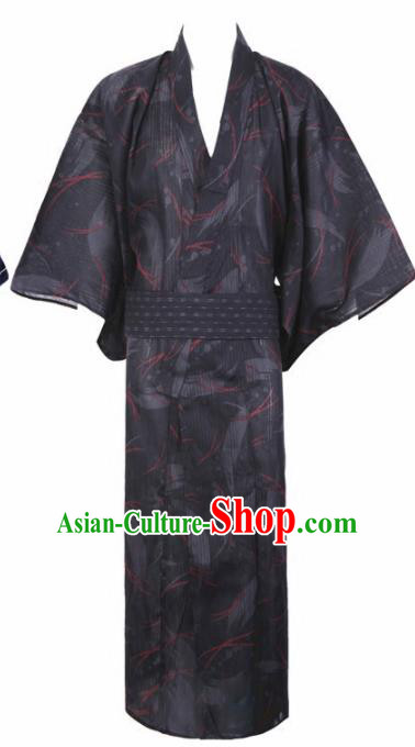 Japanese Traditional Samurai Printing Deep Grey Kimono Asian Japan Handmade Warrior Yukata Costume for Men