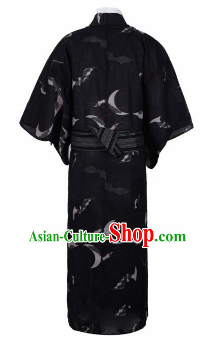Japanese Traditional Samurai Printing Black Kimono Robe Asian Japan Handmade Warrior Yukata Costume for Men