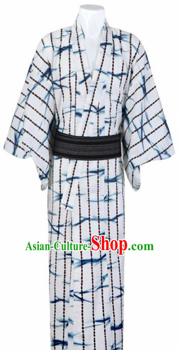 Japanese Traditional Samurai Printing Bamboo White Kimono Robe Asian Japan Handmade Warrior Yukata Costume for Men