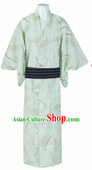 Japanese Traditional Samurai Printing Green Kimono Robe Asian Japan Handmade Warrior Yukata Costume for Men