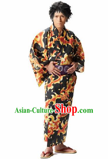 Traditional Japanese Samurai Printing Black Kimono Robe Asian Japan Handmade Warrior Yukata Costume for Men