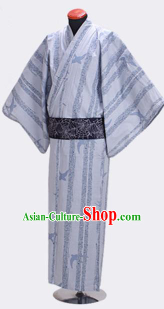 Traditional Japanese Samurai White Kimono Robe Asian Japan Handmade Warrior Yukata Costume for Men