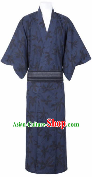 Traditional Japanese Samurai Printing Flowers Navy Kimono Robe Asian Japan Handmade Warrior Yukata Costume for Men