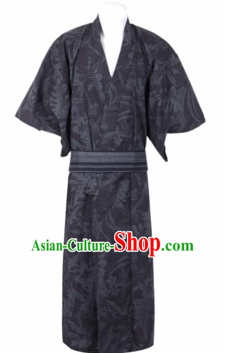 Traditional Japanese Samurai Printing Flowers Black Kimono Robe Asian Japan Handmade Warrior Yukata Costume for Men