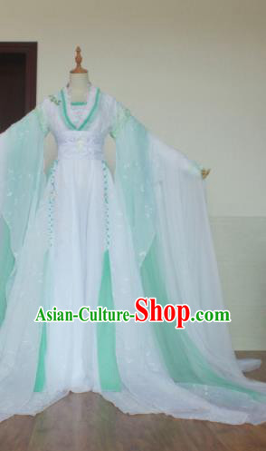 Chinese Traditional Cosplay Costume Ancient Swordswoman Princess Green Hanfu Dress for Women
