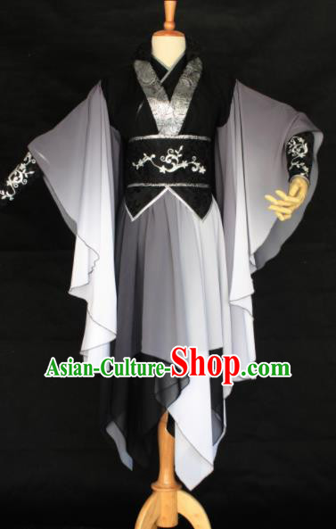 Chinese Traditional Cosplay Female Assassin Costume Ancient Swordswoman Black Hanfu Dress for Women