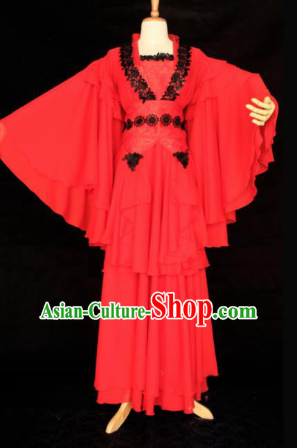Chinese Traditional Cosplay Peri Princess Costume Ancient Swordswoman Red Hanfu Dress for Women