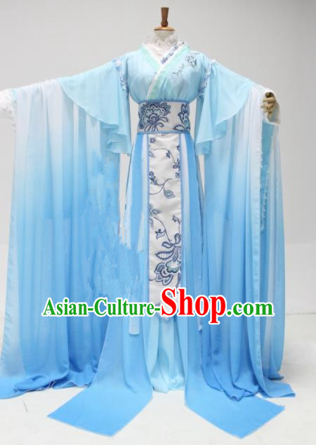 Chinese Traditional Cosplay Princess Costume Ancient Swordswoman Blue Hanfu Dress for Women