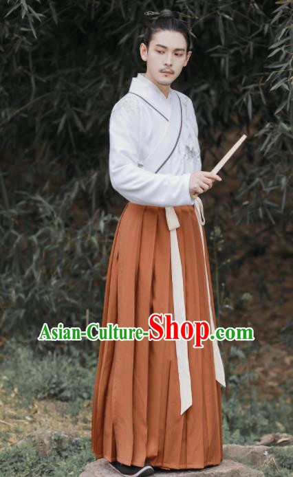 Chinese Ancient Scholar Embroidered Hanfu Clothing Han Dynasty Nobility Childe Swordsman Historical Costume for Men