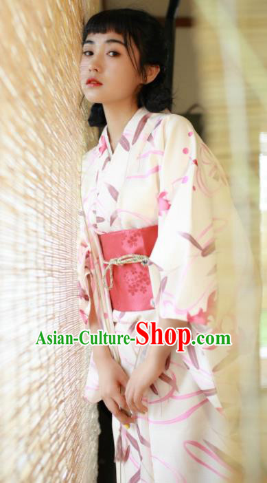Handmade Japanese Traditional Costume Geisha White Furisode Kimono Dress Asian Japan Yukata for Women
