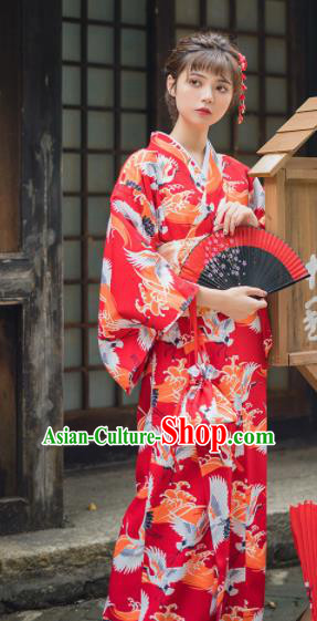 Handmade Japanese Traditional Costume Printing Cranes Red Furisode Kimono Dress Asian Japan Yukata for Women