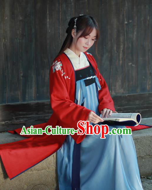 Chinese Ancient Song Dynasty Princess Embroidered Historical Costume Traditional Hanfu Dress for Women