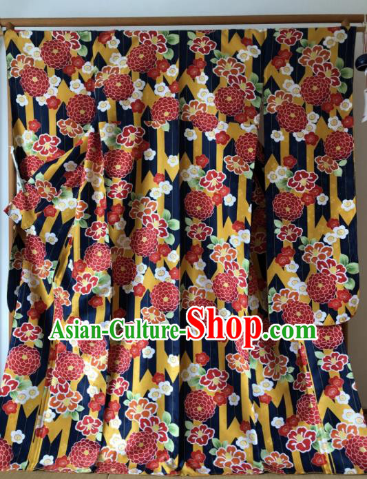 Japanese Traditional Costume Geisha Printing Chrysanthemum Furisode Kimono Asian Japan Yukata Dress for Women