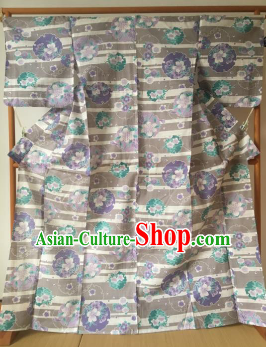 Japanese Traditional Costume Geisha Printing Sakura Furisode Kimono Asian Japan Yukata Dress for Women
