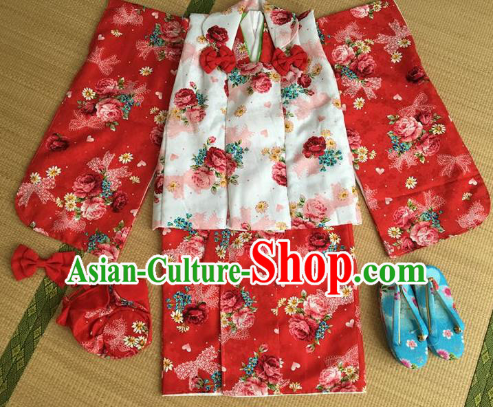 Japanese Traditional Handmade Printing Roses Red Kimono Dress Asian Japan Girls Yukata Costume for Kids
