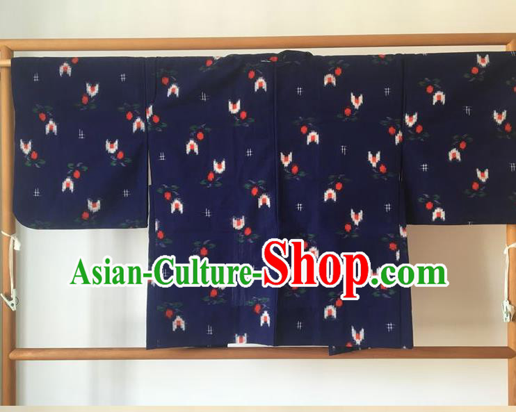 Traditional Japanese Samurai Kimono Navy Haori Coat Asian Japan Handmade Warrior Yukata Costume for Men