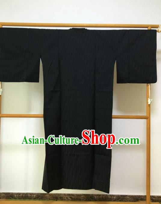 Traditional Japanese Samurai Kimono Black Robe Asian Japan Handmade Warrior Yukata Costume for Men