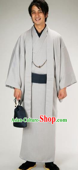 Traditional Japanese Samurai Grey Haori Kimono Asian Japan Handmade Warrior Yukata Costume for Men