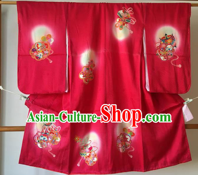Japanese Traditional Handmade Printing Furisode Kimono Asian Japan Printing Red Yukata Costume for Kids