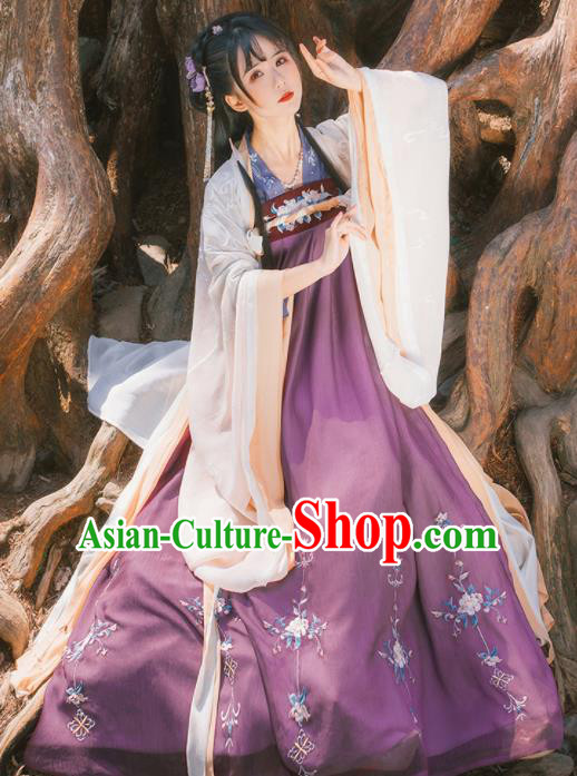 Chinese Ancient Tang Dynasty Palace Princess Historical Costume Traditional Dance Embroidered Hanfu Dress for Women