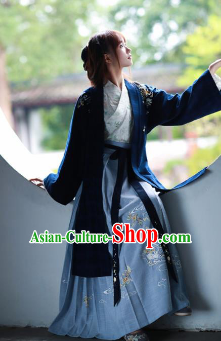 Chinese Ancient Han Dynasty Nobility Lady Historical Costume Traditional Embroidered Hanfu Dress for Women